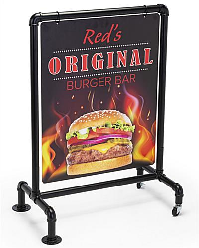 22 x 28 industrial pipe sign holder with custom uv printed panel
