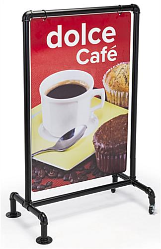 Double-sided 24 x 36 black aluminum pipe sign frame