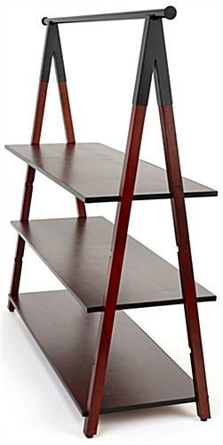 Wooden a frame clothes rail with one inch high shelves