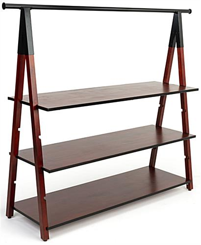 Multi tiered wooden a frame clothes rail