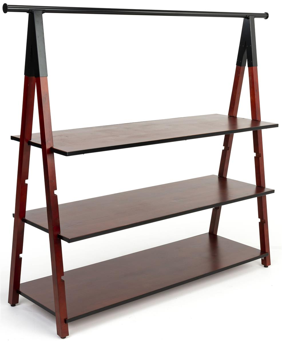 72 X 51 Wooden A Frame Clothing Rack Adjustable Shelves Metal Piping Dark Brown