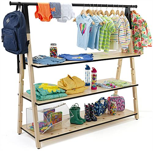 Wooden a frame clothing rack with base shelves and industrial pipping