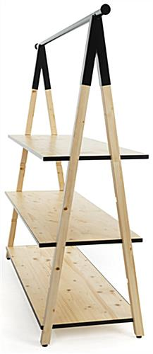 Durable wooden a frame clothing rack with base shelves