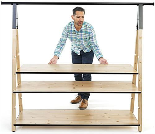 Easy to set up wooden a frame clothing rack with base shelves