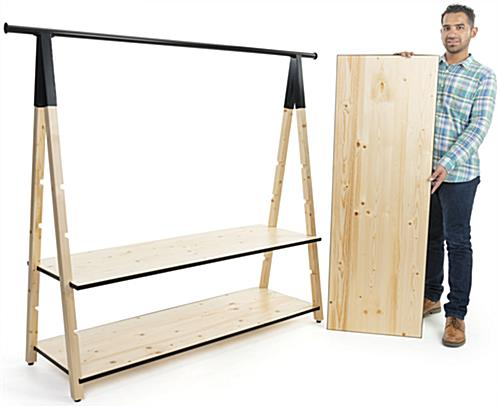 72 x 50 wooden a frame clothing rack with base shelves