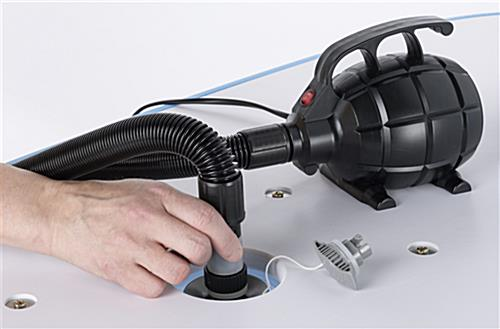 Electric pump for inflatable counters works in seconds to fill WaveLight® Air furniture