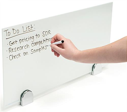 Desk mounted privacy partition panel with write-on capabilities