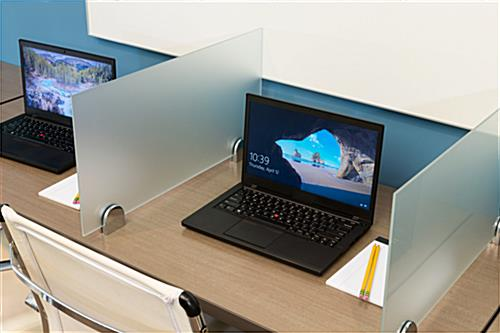 Desk privacy shield with clamps