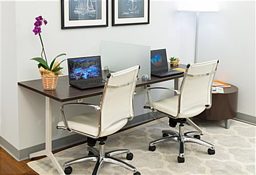 Glass privacy desk mount divider for separating workstations