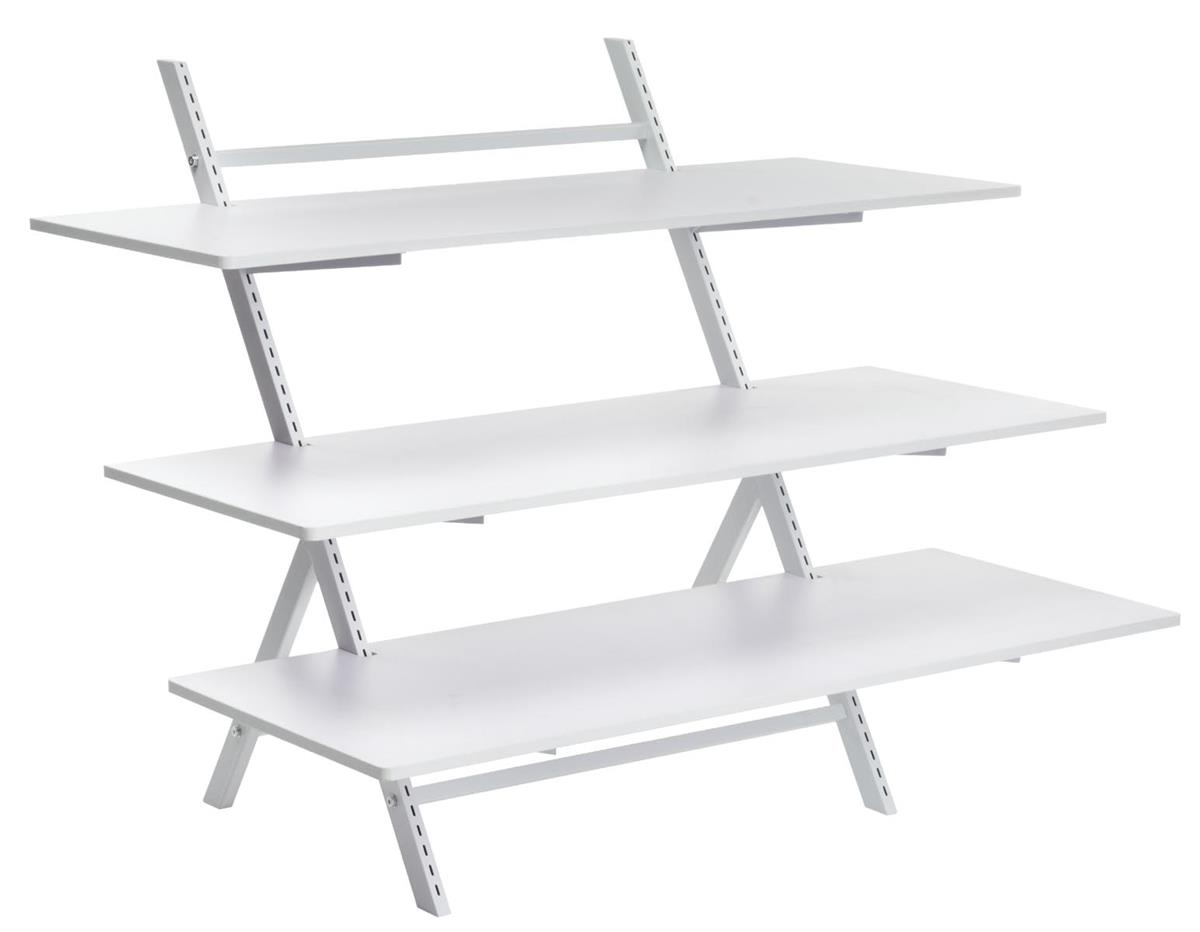 3 Tier Display Table Adjustable Height Shelves White