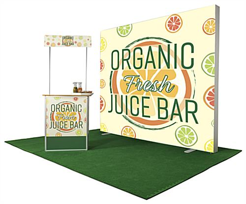 Mobile demo display counter shown with matching branded backdrop