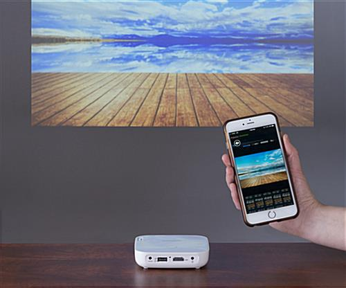 Mini LED projector with screen mirroring from smartphone