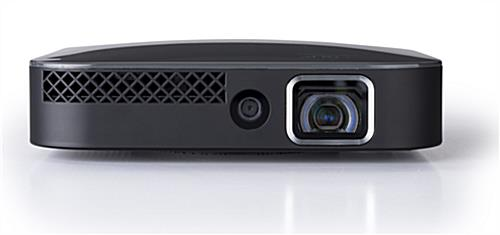 Front with optical lens and light sensor on portable mini projector