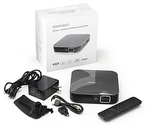 Portable mini projector with remote control includes HDMI cable and micro HDMI adapter