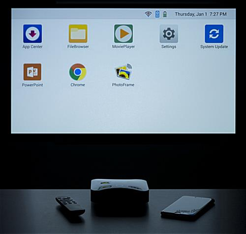 Downloaded apps on home screen of portable mini projector