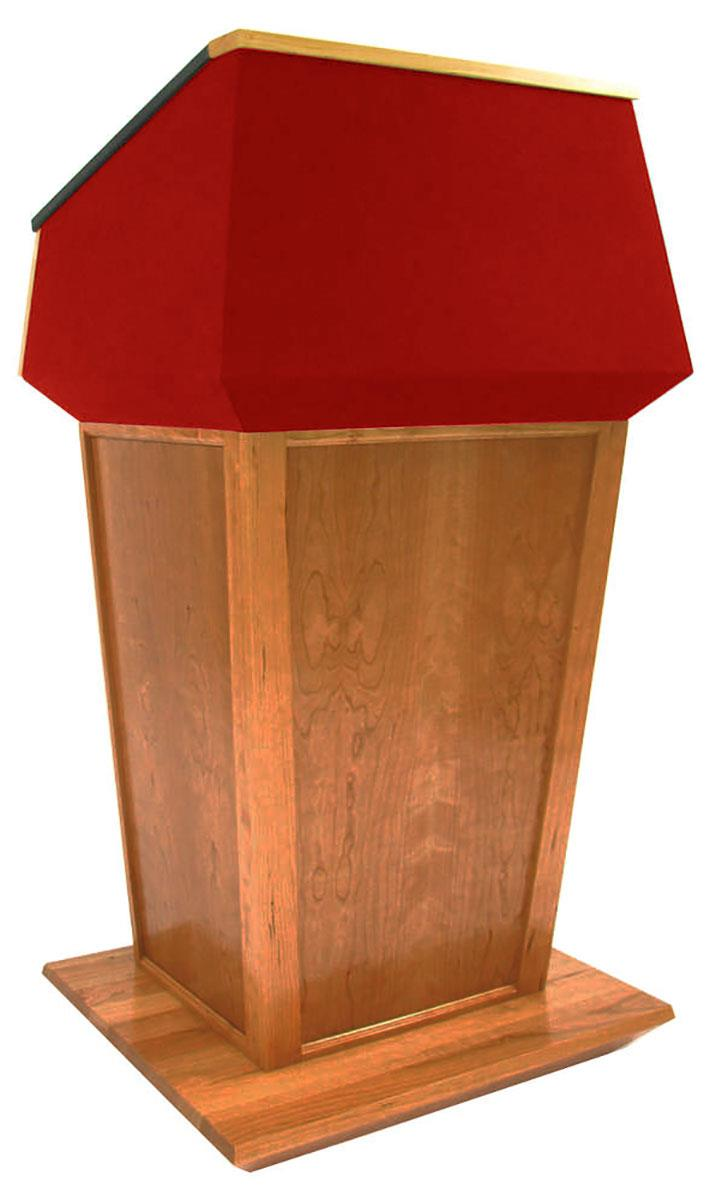 Presidential speaker lectern with red fabric oak wood