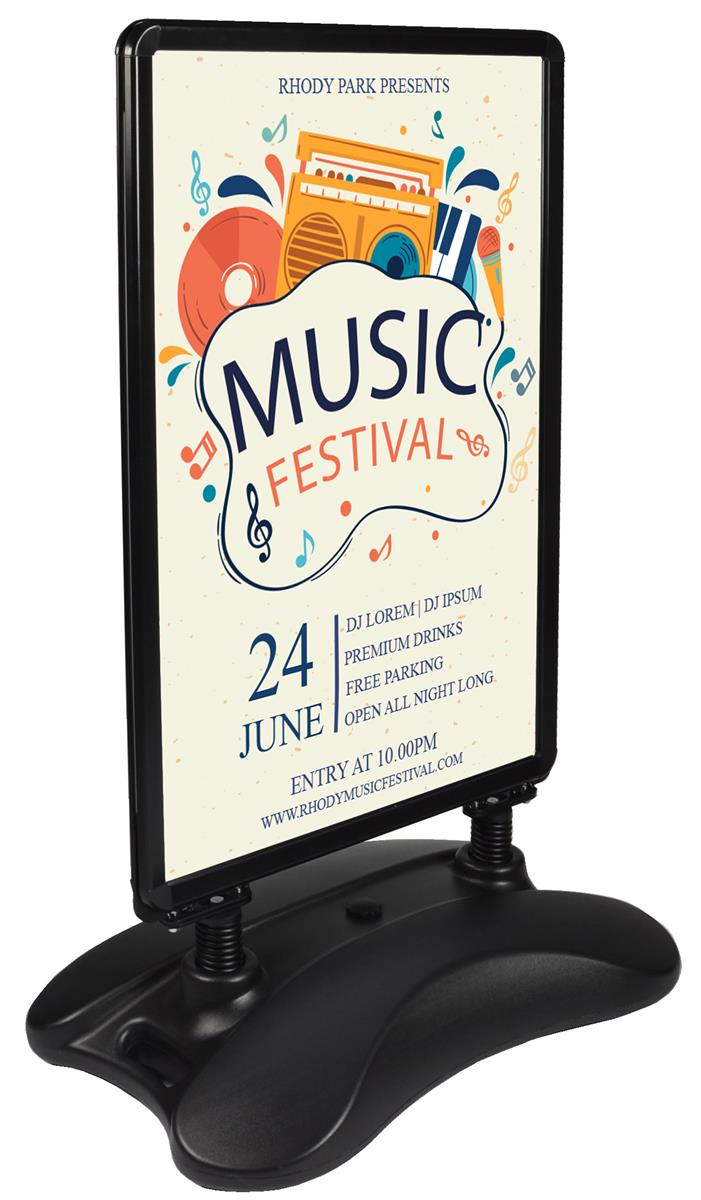 Free standing sign black water base hidden casters for Free standing