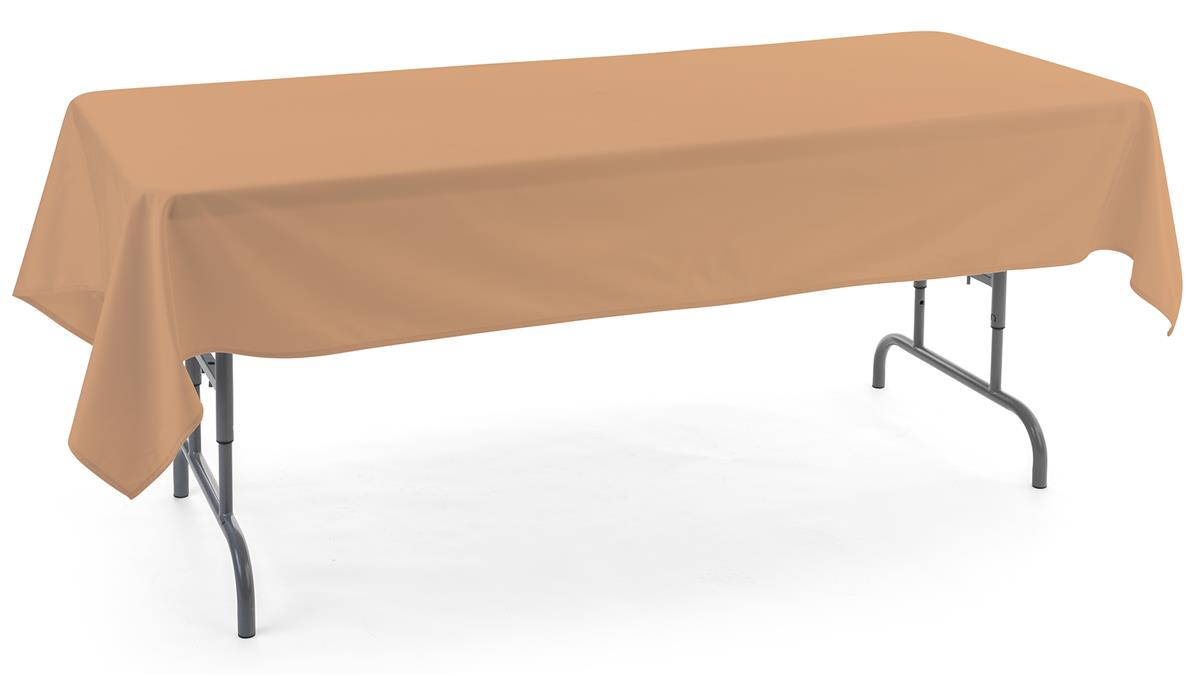 Beige rectangle tablecloths with 6 foot design