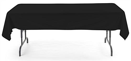 Black rectangle tablecloths with overlocked stitch hem