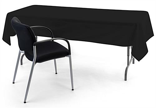 Black rectangle tablecloths with fire retardant polyester