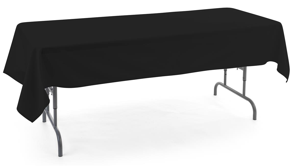 Black rectangle tablecloths with open back style
