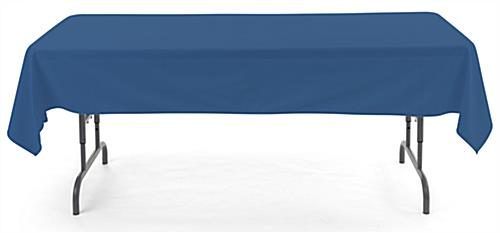 Dark blue rectangular tablecloths with open back design