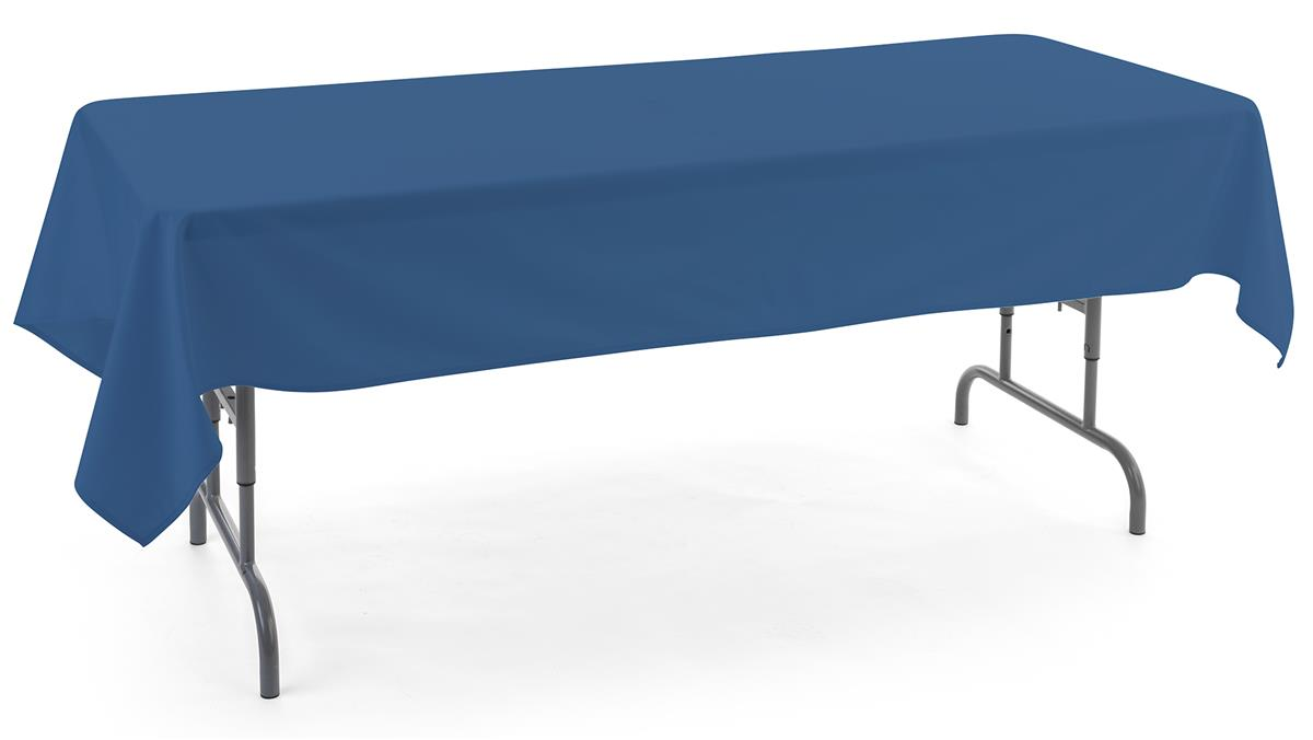 Rectangular tablecloths made of dark blue polyester