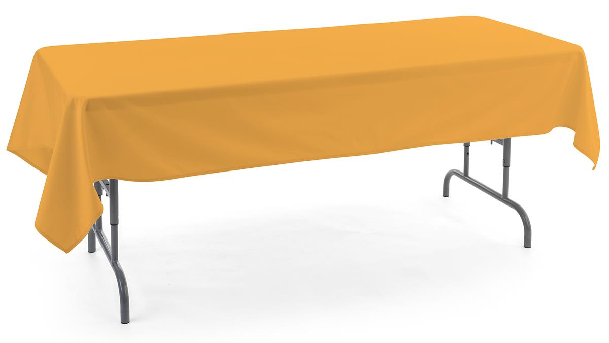 Gold rectangle tablecloths with polyester material