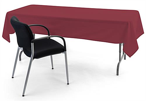 Burgundy rectangle tablecloths with open back design