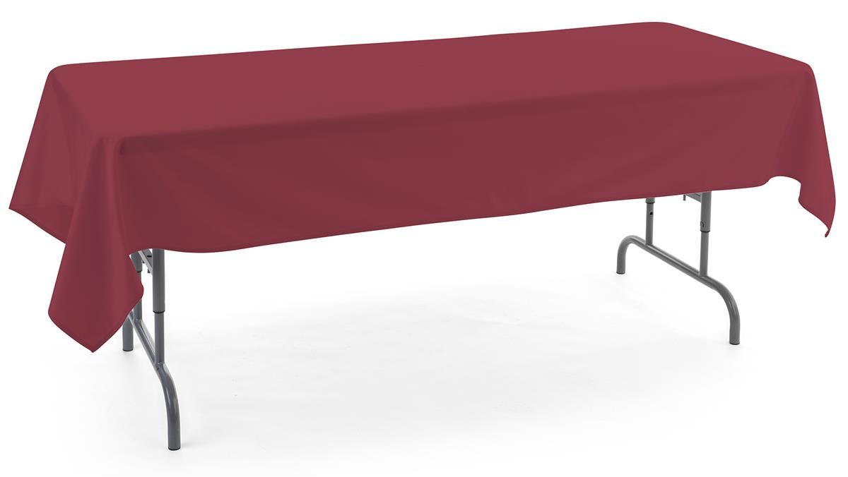 Burgundy rectangle tablecloths with clean stitched hem