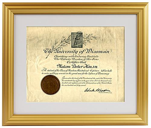 8 5 X 11 Matted Picture Frame For Table Or Wall Plastic Gold