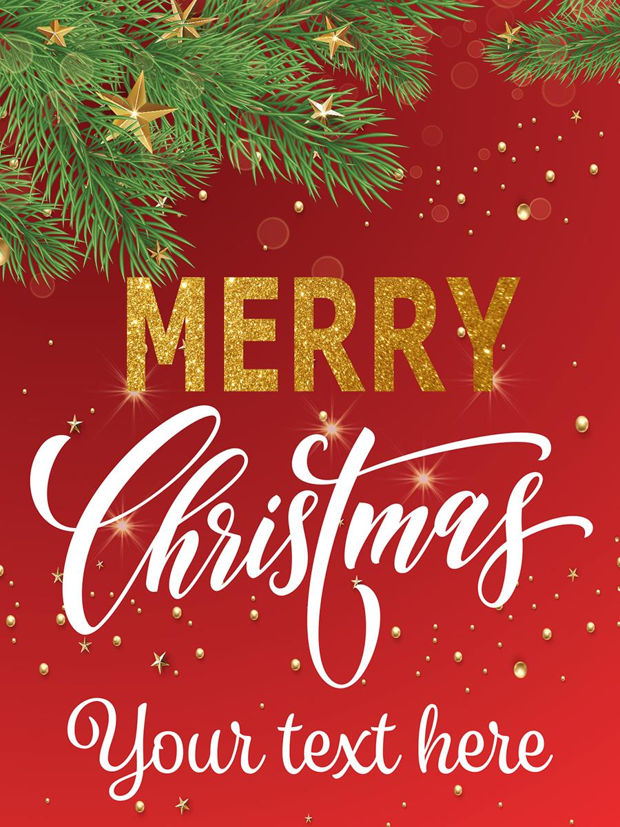 Merry Christmas Text.18 X 24 Pre Printed Merry Christmas Poster Customizable Text Red