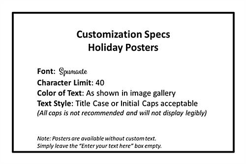 "18"" x 24""  Holiday Marketing poster font specs"