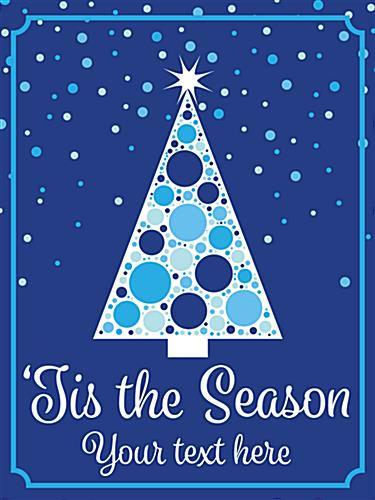 "18"" x 24"" 'Tis the Season"" holiday poster with blue and white pre-designed graphics"