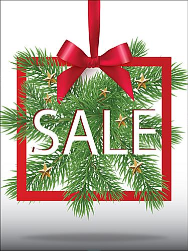 Christmas sale window display sign with pre-printing