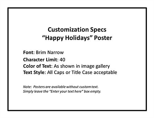 Happy Holidays window display poster with fun font
