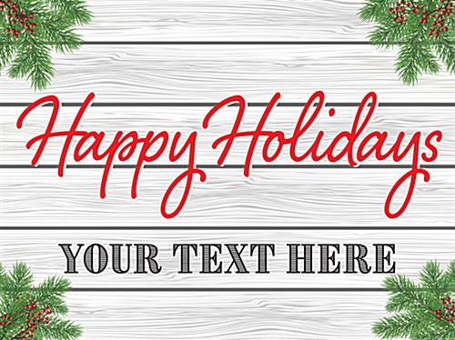 Happy Holidays window display poster with custom text line