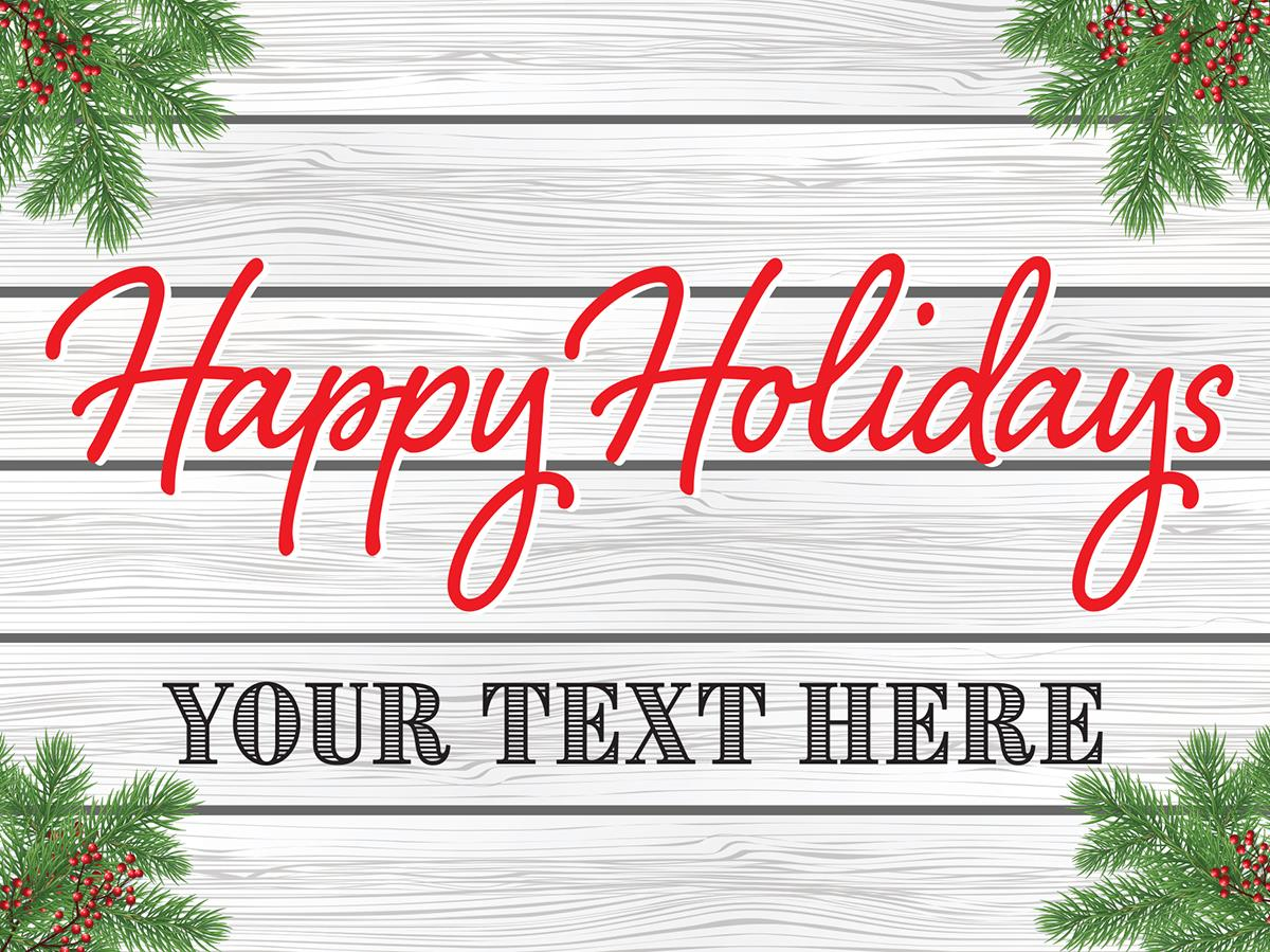 It is a graphic of Playful Happy Holidays Banner Printable