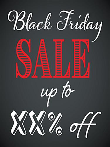 Store window Black Friday poster with custom text
