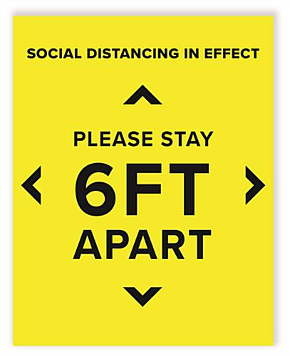 6 feet social distancing sign with 22 inch by 28 inch pre printed graphics