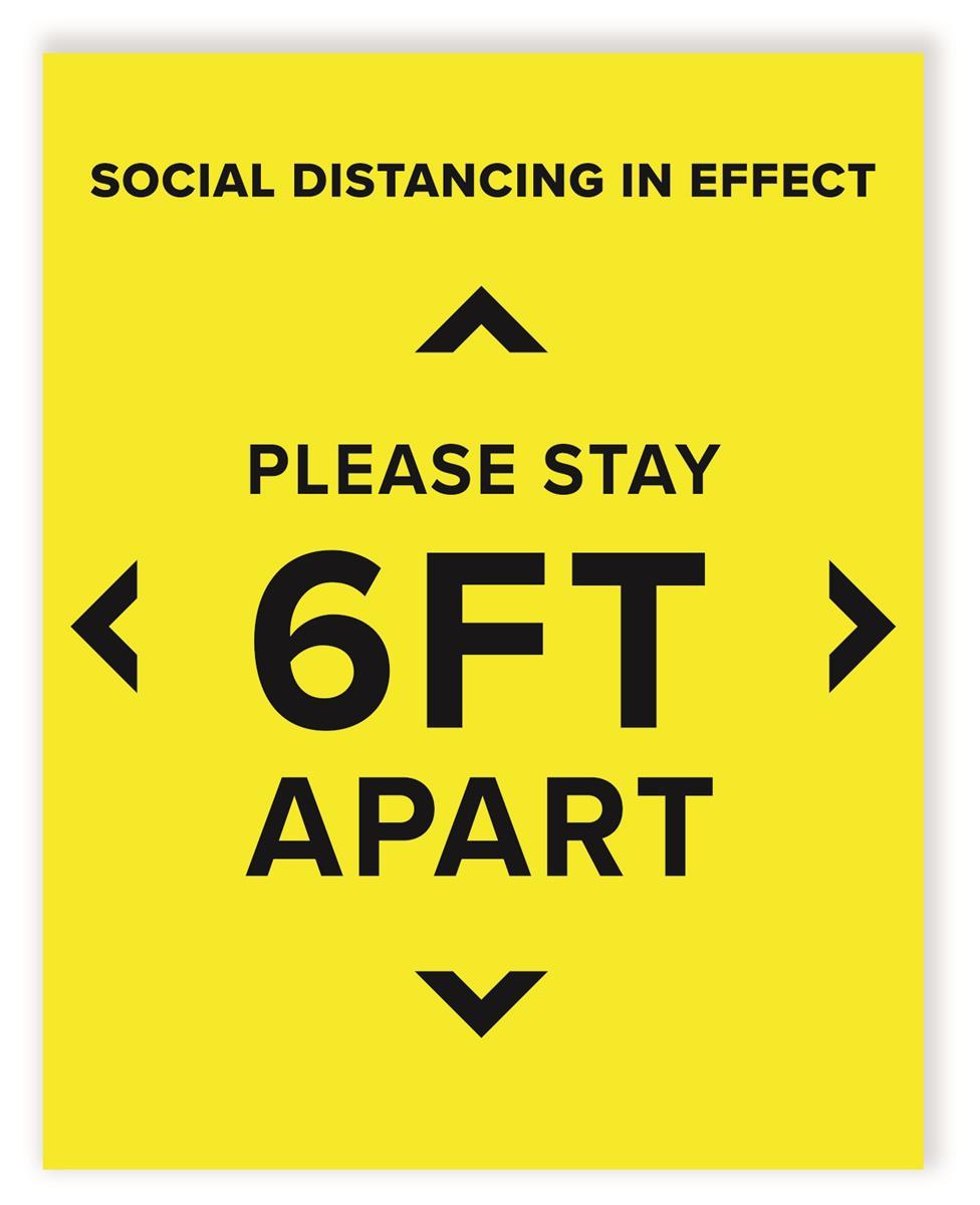 6 Feet Apart: 6 Feet Social Distancing Sign