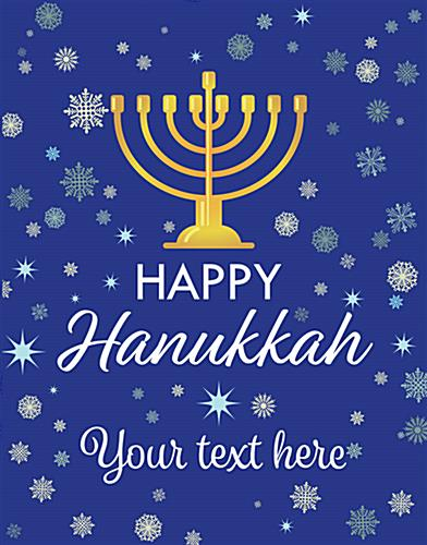 "22"" x 28"" store window ""Happy Hanukkah"" poster with custom text"