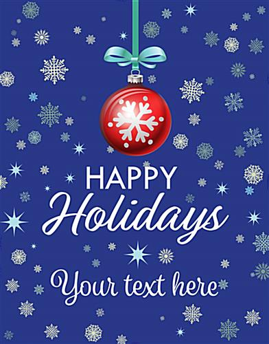 "22"" x 28"" ""Happy Holidays"" retail shop poster with snowy background"