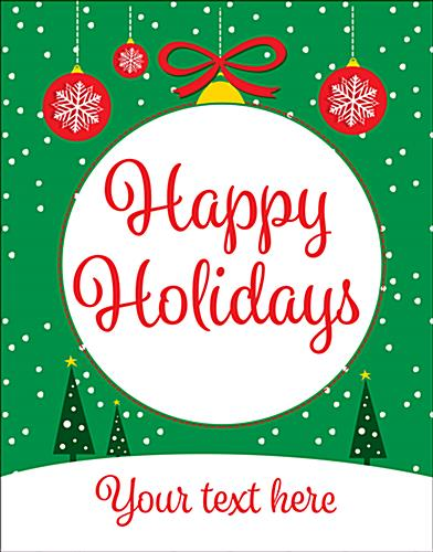 "22"" x 28"" ""Happy Holidays"" trendy retail poster with ornament graphics"