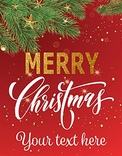 "22"" x 28"" ""Merry Christmas"" modern retail poster with custom text area"