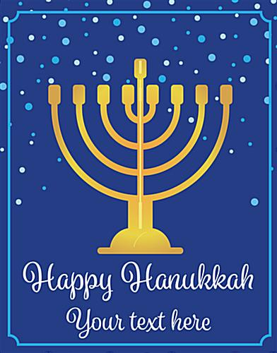 "22"" x 28"" ""Happy Hanukkah"" window sign with deep blue background"