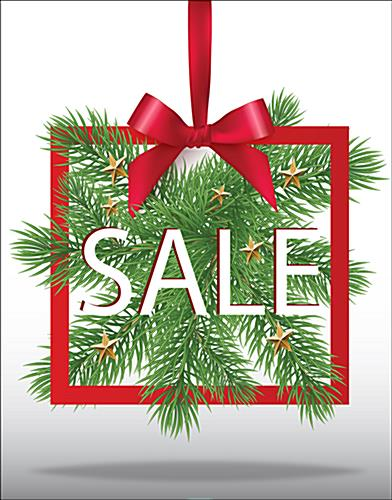 Fun Christmas Sale store window poster with seasonal greenery