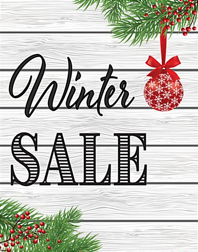 Winter Sale poster with cottage theme