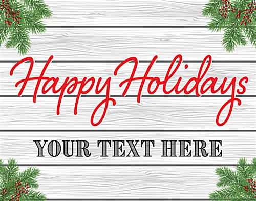 """Happy Holidays"" window display sign with custom text field"