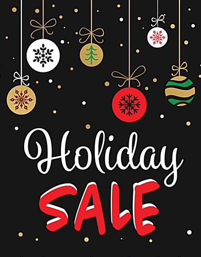 "Store window ""Holiday Sale"" sign with red and white text"